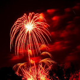 Oooh, Ahhh by Jerry Donovan - Abstract Fire & Fireworks ( idah, ann morison park, boise, red, fireworks, smoke )