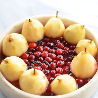 Cranberry Poached Pears with Goat Cheese