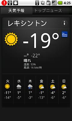 現在の気温 摂氏-19度