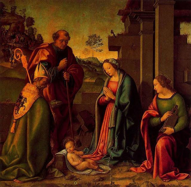Adoración del Cristo niño con Santa Bárbara y San Martín-Botticini - (Raffaello Botticini).jpg