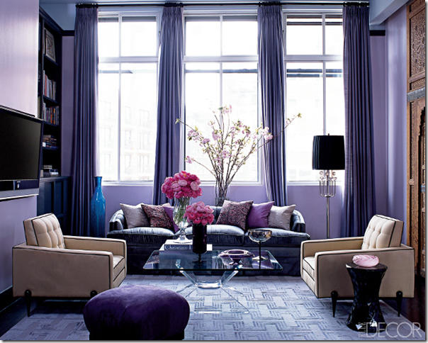 purple designer living room elle decor