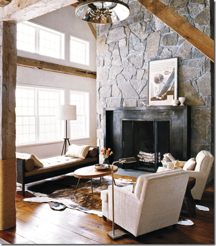 chic modern cabin stone fireplace
