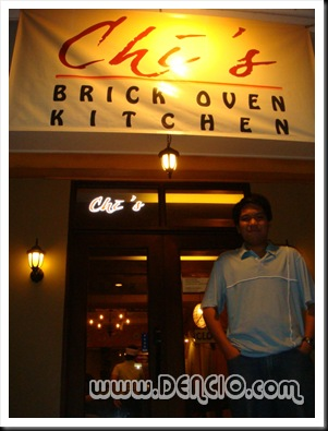 Outside Chi's Brick Oven Kitchen.