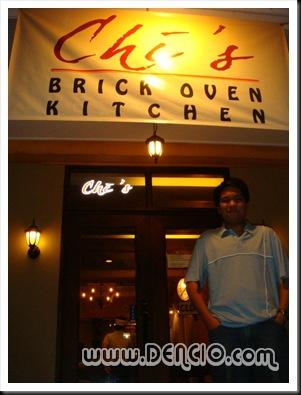 Outside Chi's Brick Oven Kitchen.