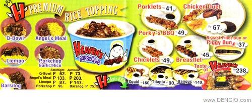 Heaven's BBQ Menu