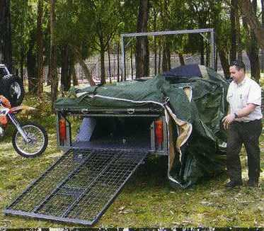 Motorbike Camper Trailer with Tent setup