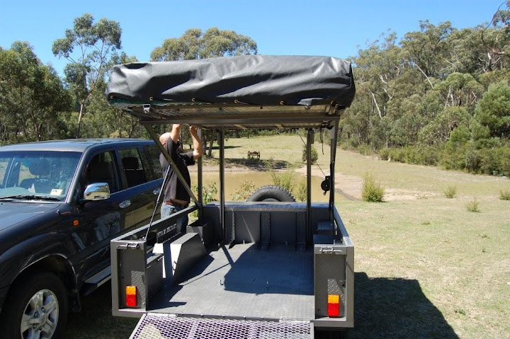 Motorbike Camper Trailer with Kitchen, Tent and room for 3 Dirt Bikes or Quad Bikes