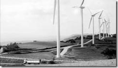 Vista general del parque eólico de Serra del Tallat, en Tarragona, propiedad de la compañía Acciona