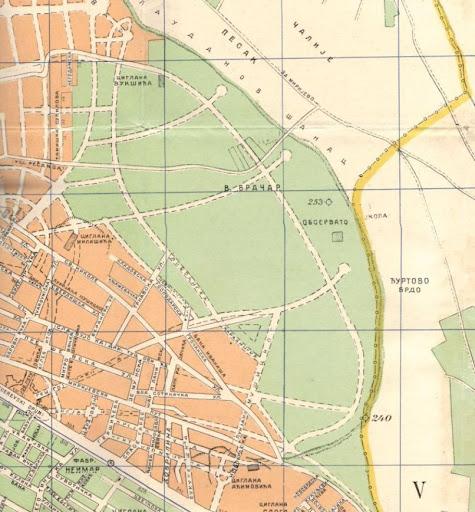 Mapa Zvezdare iz 1940. godine