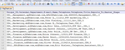 CSV export file