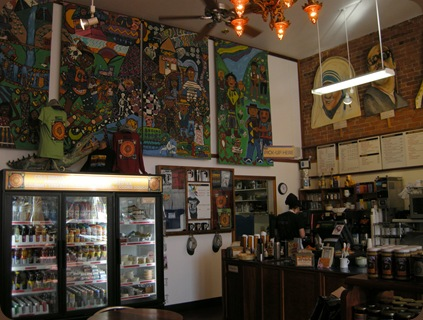 inside Los Bagels for some great coffees