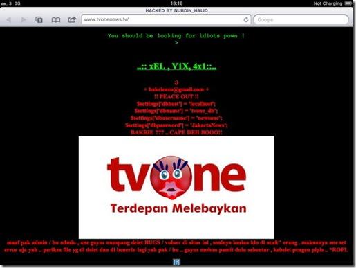 Tampilan situs TV One Deface Hacked by Nurdin Halid dan Ical