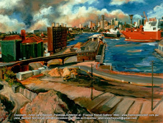 plein air oil painting of Sydney Harbour from the roof of the Pyrmont Power Station by industrial heritage artist Jane Bennett
