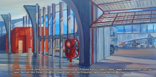 plein air painting of 'Red Square' Wharf 8 at Barangaroo by industrial heritage artist Jane Bennett