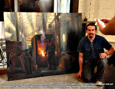 oil painting portrait of Blacksmith at the forgeof  'Wrought Artworks' Eveleigh Railway Workshops by industrial heritage artist Jane Bennett