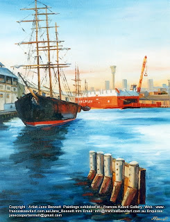 plein air oil painting of the tall ship 'James Craig' at Wharf 7 Pyrmont by industrial heritage artist Jane Bennett