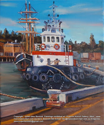 tug ''Edi' and 'Southern Swan' at White Bay Wharf  oil painting by artist Jane Bennett
