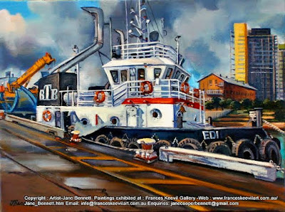 tug ''Edi' at Glebe Island Wharf opposite Jacksons Landing Pyrmont oil painting by artist Jane Bennett