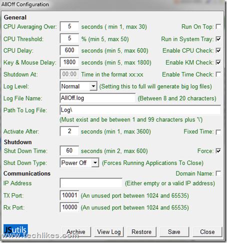 Automatically Shutdown Windows 7 :AllOff  Software