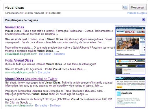 Visualização de Páginas do Google
