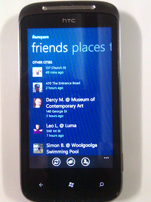 Four Square Friends list on Windows Phone 7