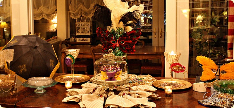 Mardi Gras Tablescape-Bargain Decorating with Laurie