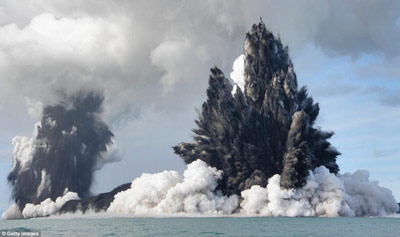 Underwater Volcano eruption of Tonga