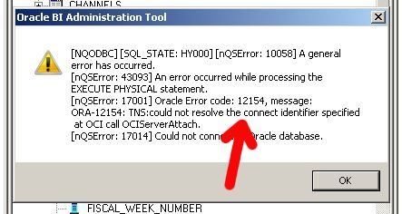 Administration Tool ORA-12154