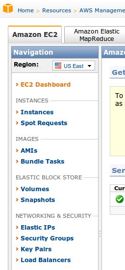 AWS Console Menu