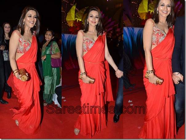 Sonali_Bendre_Orange_Designer_Saree