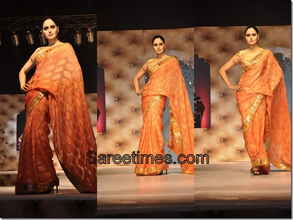 Umair_Zafar_Orange_Designer_Saree
