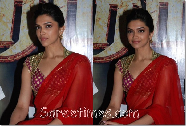 Deepika_Padukone_Red_Saree