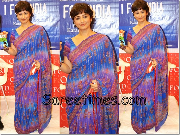 Divya_Dutta_Blue_Designer_Saree