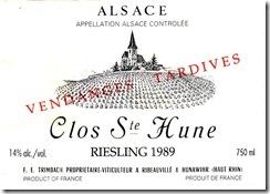 Trimbach Riesling Clos Ste Hune VT 1989