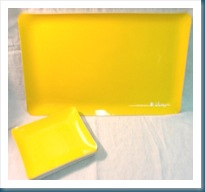 yellow plates and tray