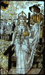 a May Queen depicted in a stained glass window