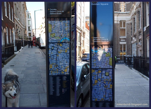 Street maps from opposite sides, oriented to your walking direction