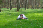 Kolarz ArteQ na zielonej trawce w środku lasu