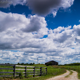 Clouds and barn by Matt McEuen - Landscapes Prairies, Meadows & Fields ( farm, sky, barn, cloud, landscape,  )