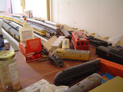 image of a messy model railroad layout