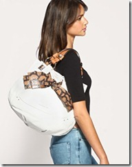 leather snake bow tote bag