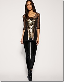 ASOS Contrast Sequin Mesh Panel Top
