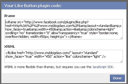 Facebook Like Button Code