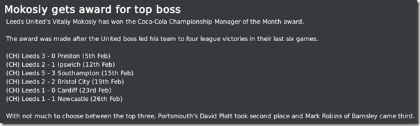 I was awarded by Manager of the Month award, FM 2010