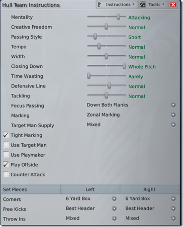 Football Manager 2009 Tactics, Team Instructions