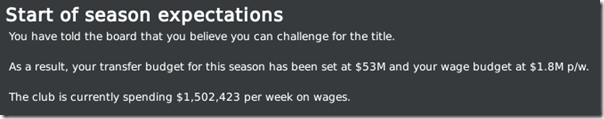 Season expectations of Leeds, FM2010