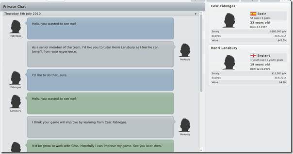 Player interaction in Football Manager 2011