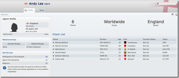 Agents in Football Manager 2011