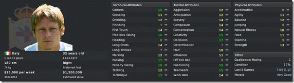 Roberto Baronio in Football Manager 2011