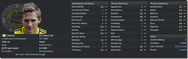 James McKeown in Footbal Manager 2011